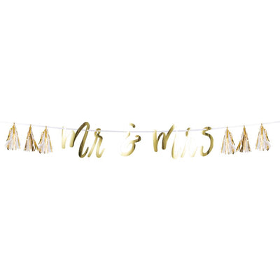 Mr & Mrs White And Gold Tassel Banner (1/Pkg) by Creative Converting