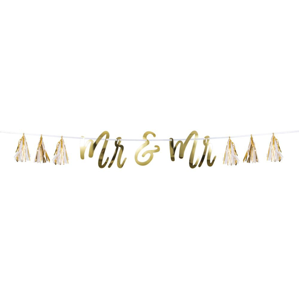 Mr & Mr White And Gold Tassel Banner (1/Pkg) by Creative Converting