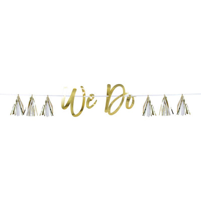 We Do White And Gold Tassel Banner (1/Pkg) by Creative Converting