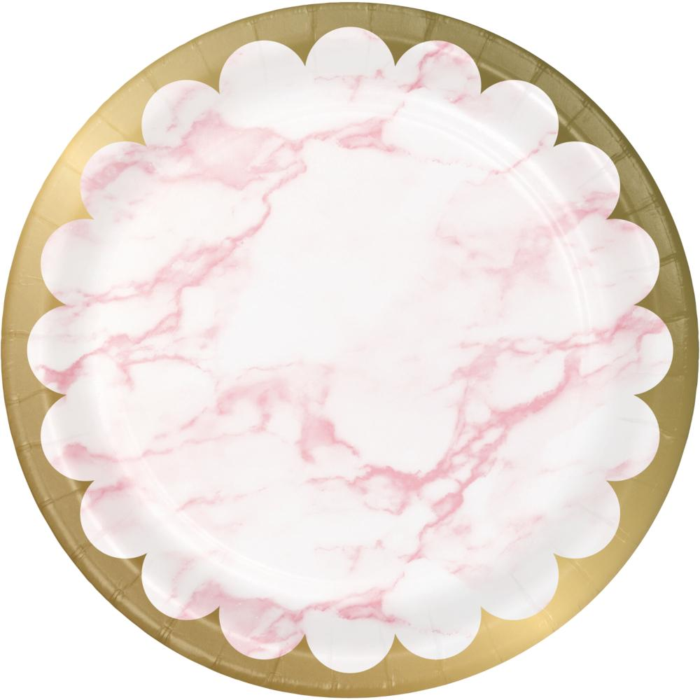 Pink Marble Dinner Plate, Foil (8/Pkg) by Creative Converting