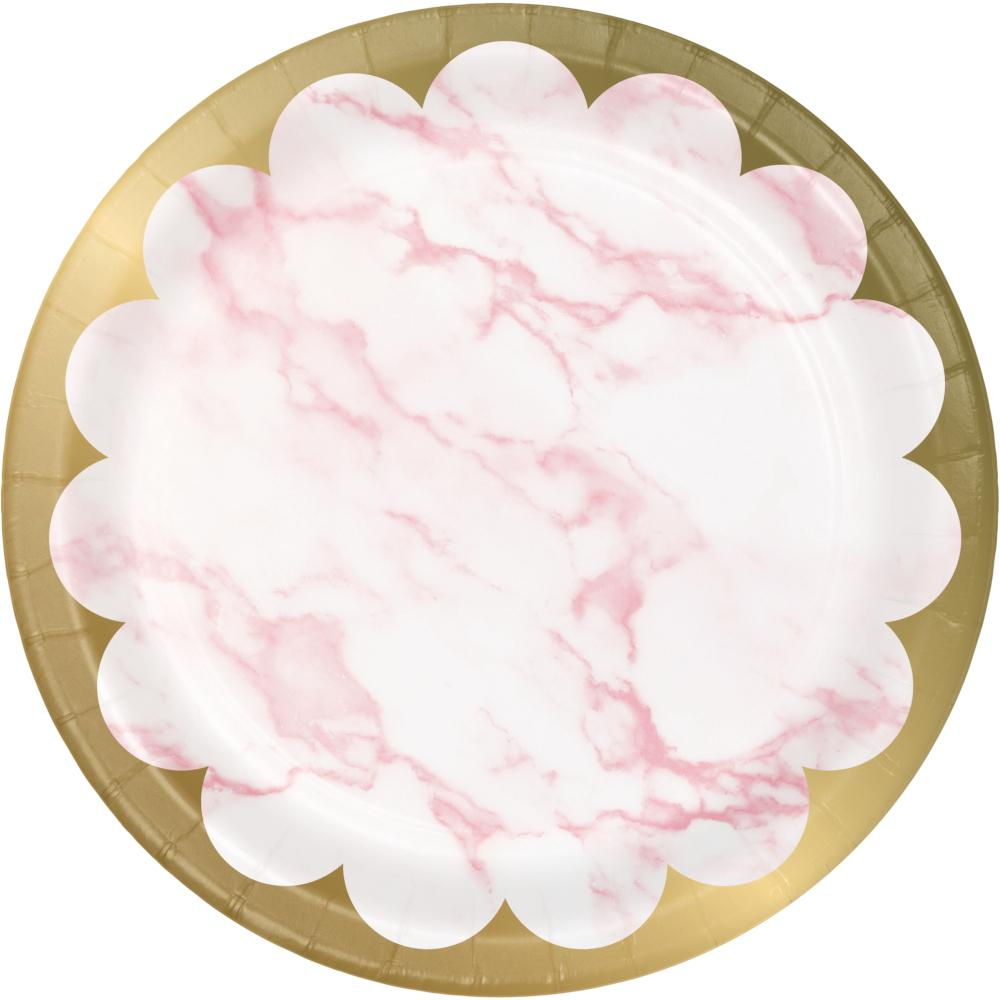 Pink Marble Luncheon Plate, Foil (8/Pkg) by Creative Converting