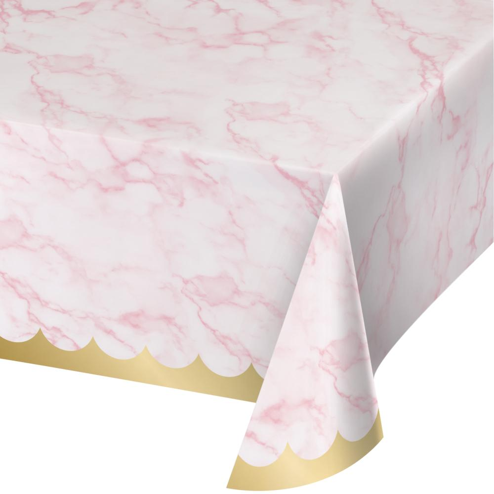 Pink Marble Tablecover, 54X102 Paper Aop (1/Pkg) by Creative Converting