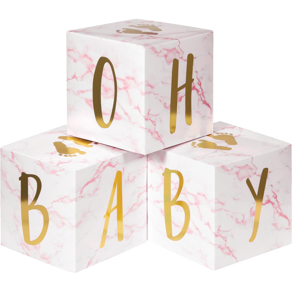 Pink Marble Centerpiece Baby Blocks, Foil (3/Pkg) by Creative Converting