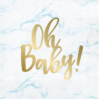 Blue Marble Luncheon Napkin, Foil, Oh Baby! (16/Pkg) by Creative Converting