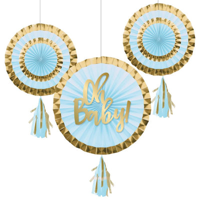 "Paper Fans With Tassels, 12"" & 8"", Blue (3/Pkg) by Creative Converting"