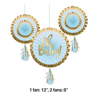"Paper Fans With Tassels, 12"" & 8"", Blue (3/Pkg)"