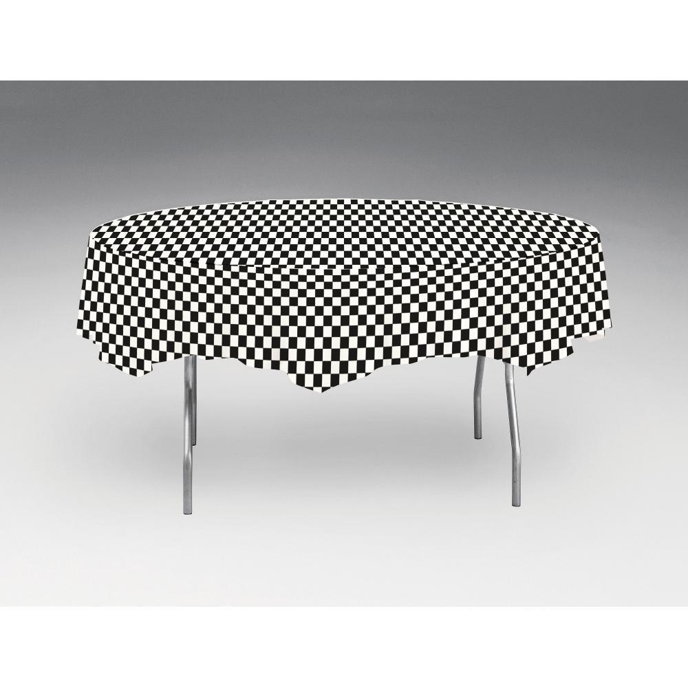 "Black Check Tablecover, Octy Round 82"" Plastic by Creative Converting"