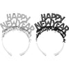 New Year's Eve Black And Silver Foil Glitter Tiaras by Creative Converting