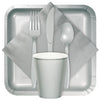 Shimmering Silver Assorted Plastic Cutlery, 24 ct Party Supplies