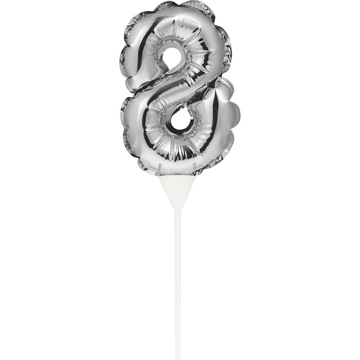 Silver 8 Number Balloon Cake Topper by Creative Converting