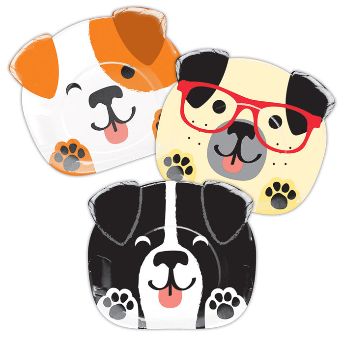 "Dog Party Shaped Plate 9"" Assorted Dogs, 8 ct by Creative Converting"