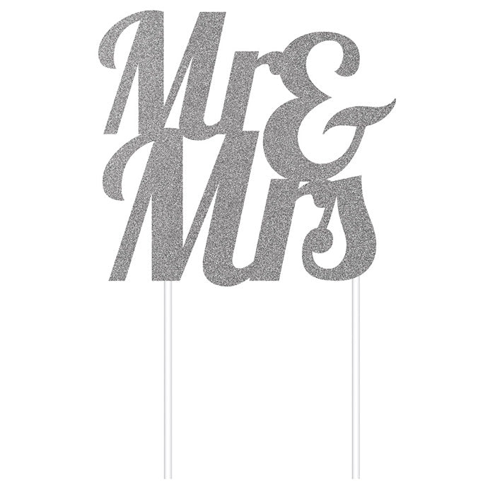Silver Glitter Mr & Mrs Cake Topper by Creative Converting