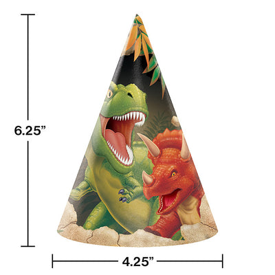 Dinosaur Party Hats, 8 ct Party Decoration