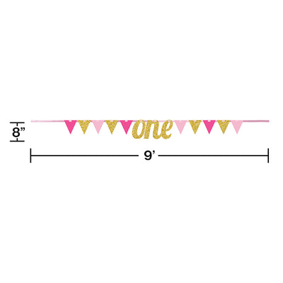 1st Birthday Girl Pennant Banner Party Decoration
