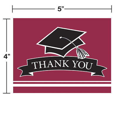 Graduation School Spirit Burgundy Red Thank You Notes, 25 ct Party Decoration