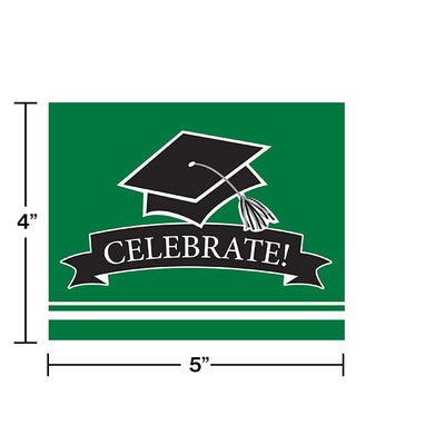 Graduation School Spirit Green Invitations, 25 ct Party Decoration