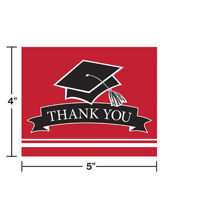 Graduation School Spirit Red Thank You Notes, 25 ct Party Decoration