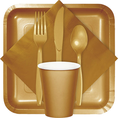 Glittering Gold Assorted Plastic Cutlery, 24 ct Party Supplies