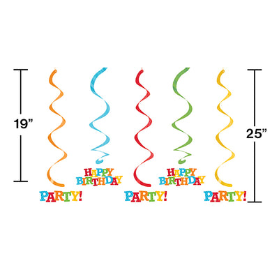 Dizzy Danglers Happy Birthday Stripes, 5 ct Party Decoration