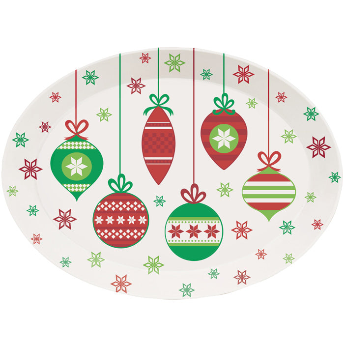 Christmas Plastic Tray, 10 X 14 Oval, Christmas Ornaments by Creative Converting