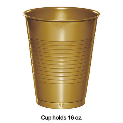 Glittering Gold Plastic Cups, 20 ct Party Decoration