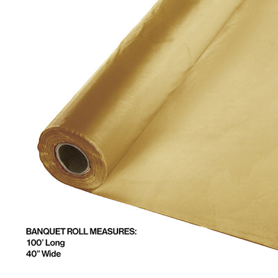 "Glittering Gold Banquet Roll 40"" X 100' Party Decoration"