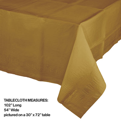 "Glittering Gold Tablecover 54""X 108"" Polylined Tissue Party Decoration"