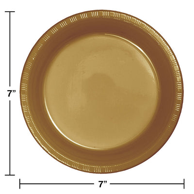 Glittering Gold Plastic Dessert Plates, 20 ct Party Decoration