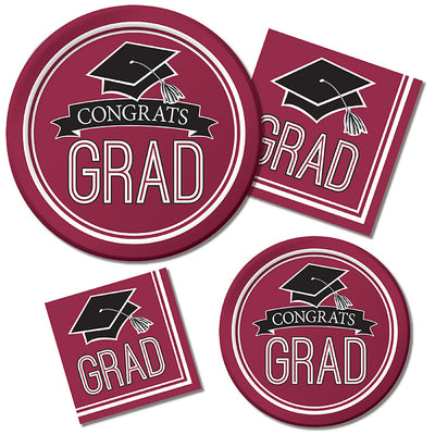 Graduation School Spirit Burgundy Red Dessert Plates, 18 ct Party Supplies