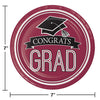 Graduation School Spirit Burgundy Red Dessert Plates, 18 ct Party Decoration