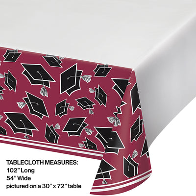 Graduation School Spirit Burgundy Red Tablecloth Party Decoration