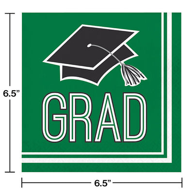 Graduation School Spirit Green Napkins, 36 ct Party Decoration