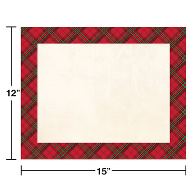Holiday Plaid Placemats, 12 ct Party Decoration