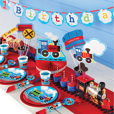 "All Aboard Plastic Tablecover Border, 54"" X 102"" Party Supplies"