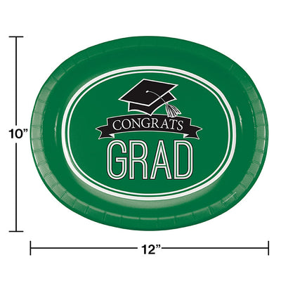 "Graduation School Spirit Green Oval Platters, 10"" X 12"", 8 ct Party Decoration"