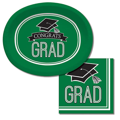 "Graduation School Spirit Green Oval Platters, 10"" X 12"", 8 ct Party Supplies"