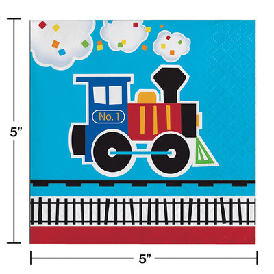 All Aboard Train Beverage Napkins, 16 ct Party Decoration