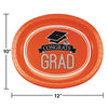 "Graduation School Spirit Orange Oval Platters, 10"" X 12"", 8 ct Party Decoration"