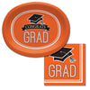 "Graduation School Spirit Orange Oval Platters, 10"" X 12"", 8 ct Party Supplies"