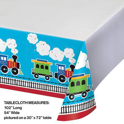 "All Aboard Plastic Tablecover Border, 54"" X 102"" Party Decoration"