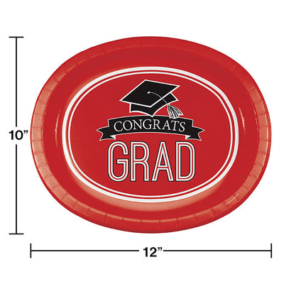 "Graduation School Spirit Red Oval Platters, 10"" X 12"", 8 ct Party Decoration"