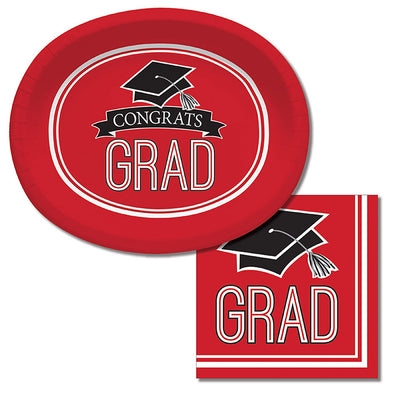 "Graduation School Spirit Red Oval Platters, 10"" X 12"", 8 ct Party Supplies"