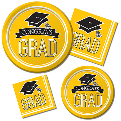 Graduation School Spirit Yellow Paper Plates, 18 ct Party Supplies