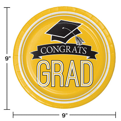 Graduation School Spirit Yellow Paper Plates, 18 ct Party Decoration
