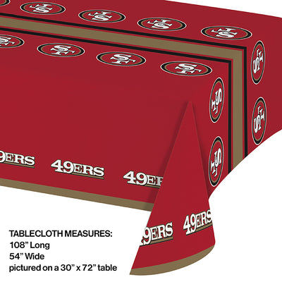 "San Francisco 49Ers Plastic Tablecloth, 54"" X 108"" Party Decoration"