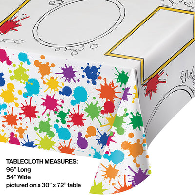 Art Party Activity Tablecover, Paper, Aop, 54X96 Party Decoration