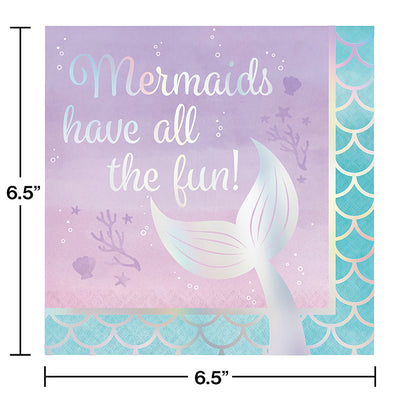 Iridescent Mermaid All The Fun Napkins, 16 ct Party Decoration