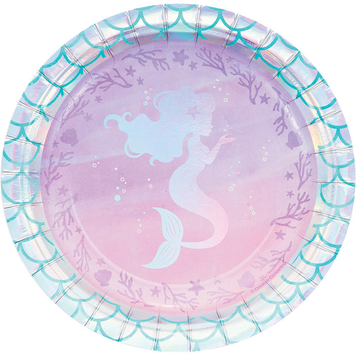 Iridescent Mermaid Party Dessert Plates, 8 ct by Creative Converting