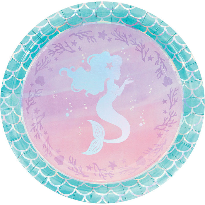Iridescent Mermaid Party Paper Plates, 8 ct by Creative Converting