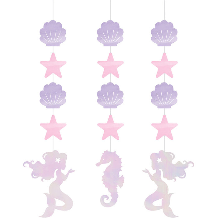 Iridescent Mermaid Party Hanging Cutouts, 3 ct by Creative Converting